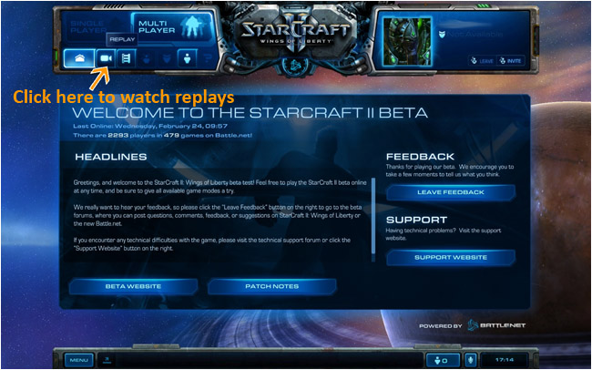 How to watch Starcraft 2 Replays Battle.net interface