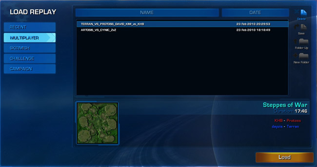 Starcraft 2 Battle.net replay menu